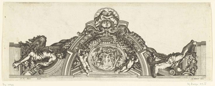 Jean Lepautre | Gedeelte van gepleisterd plafond, Jean Lepautre, 1651 - 1654 | In een ovaal medaillon zoekt Aeneas naar een gouden tak. Plafond van het Palazzo Pamphili in Rome. Uit serie van 6 bladen.