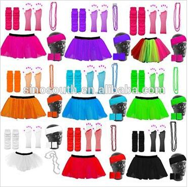 Plus size neon woman costume 80s hen fancy dress tutu skirt party costume