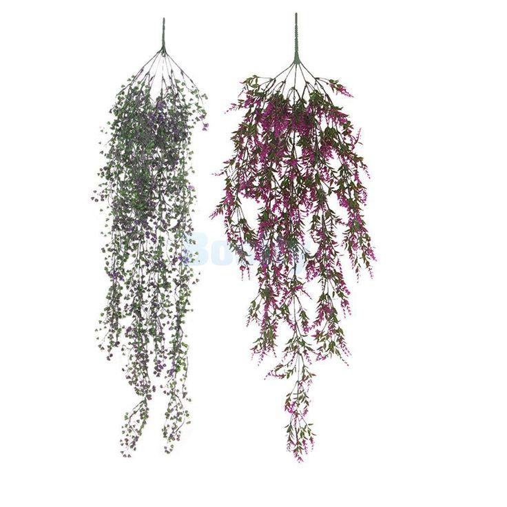 2Pcs Fadeless Plastic Grass Plants Vine Outdoor Wedding Decor Purple