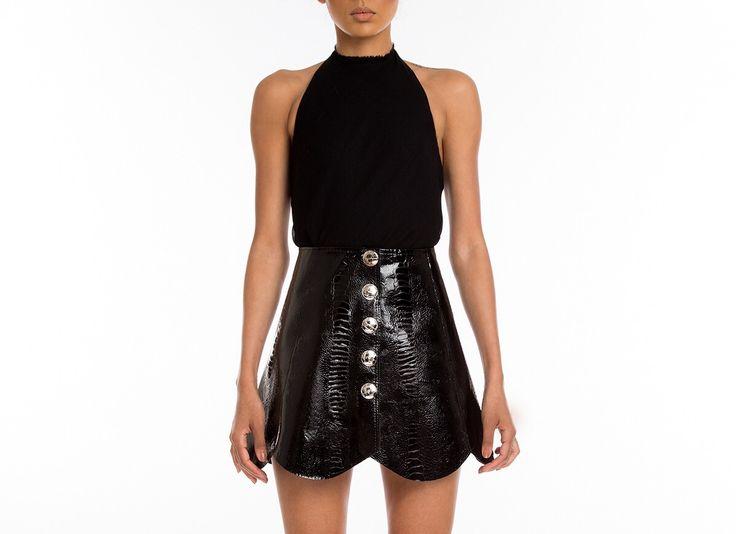 #Manokhi black lizzard embossed skirt ,available online on www.manokhi.com