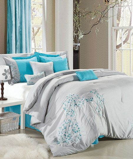 Gray & Turquoise Floral Embroidered Comforter Set
