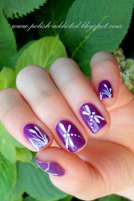Gorgeous dragonfly nail art!
