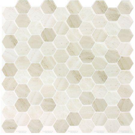 peel self adhesive backsplash tile golden brown hex 105 inch x 105 inch 4 pack - Tijdelijke Backsplash