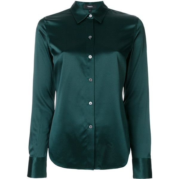 Theory satin shirt (£305) ❤ liked on Polyvore featuring tops, green, long sleeve collar shirt, button front shirt, long sleeve shirts, green long sleeve top and satin top