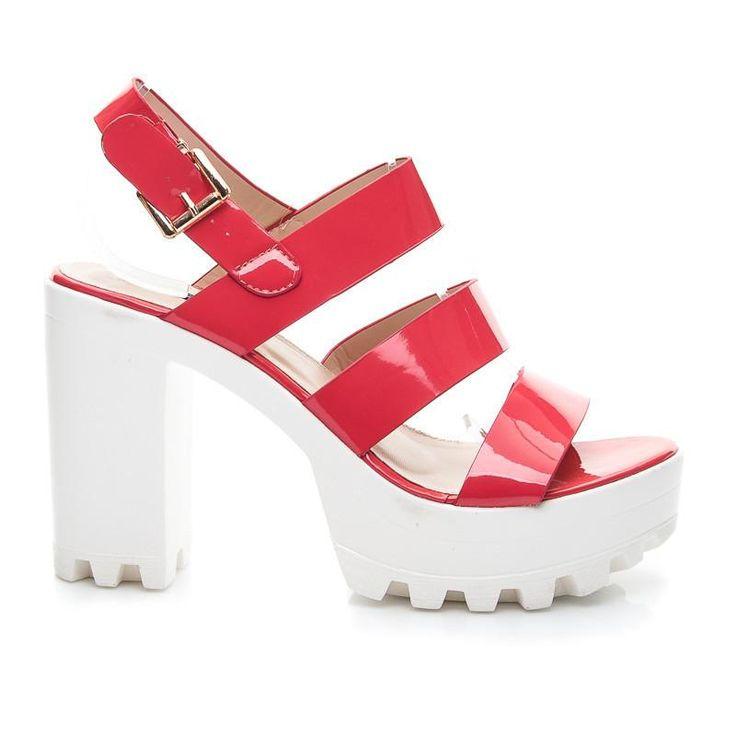 Czerwone Trendy sandały na platformie i słupku