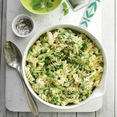 Mint and lemon fusilli pasta. For the full midweek meal dinner recipe, click the picture or see www.redonline.co.uk