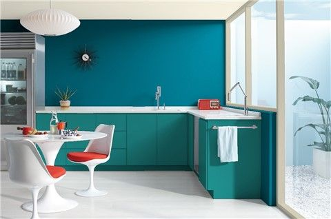 Look at the paint color combination I created with Benjamin Moore. Via @benjamin_moore. Wall: Hidden Sapphire CSP-690; Trim: Doily CSP-130; Ceiling: Stoneware CSP-245; Cabinet: Largo Teal 742.