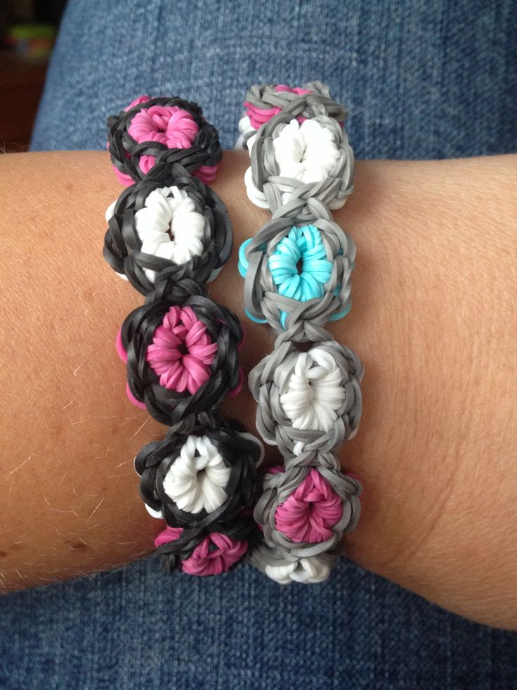 Flower Burst Rainbow Loom bracelets