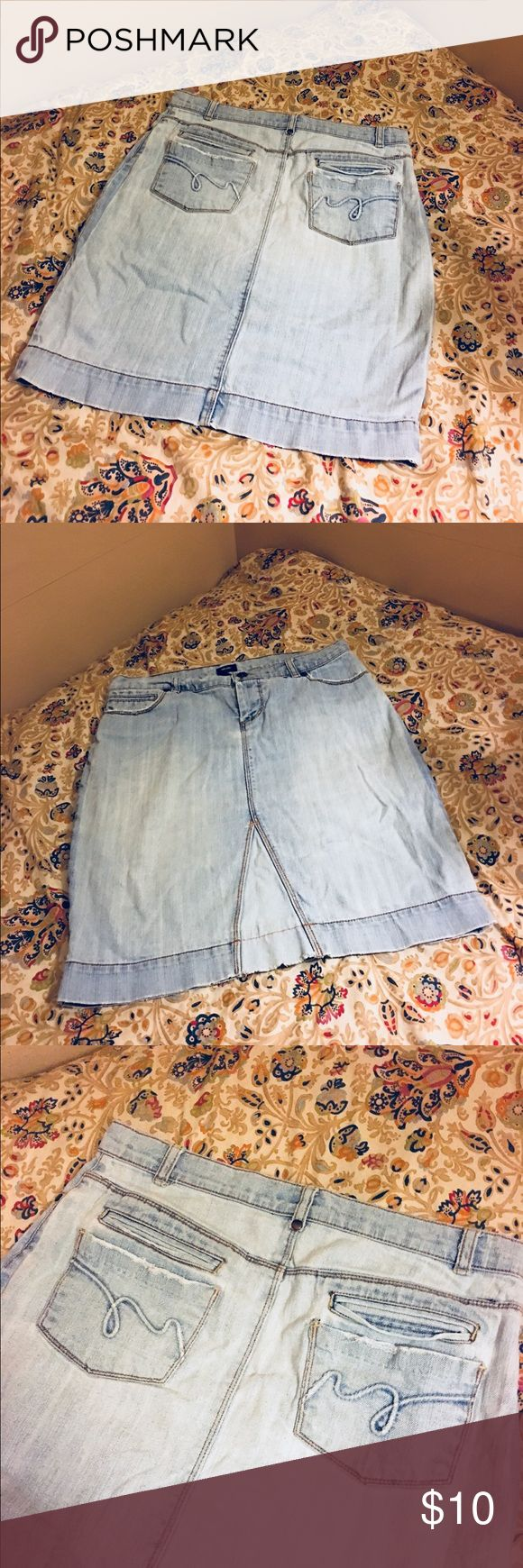 Distressed Jean Skirt Waist 16 inches Size 2 Distressed Jean Skirt Size 2  Waist 16 inches  Length 20 1/2 inches Mossimo Supply Co Skirts Midi
