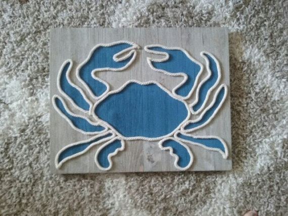 Handmade Crab or Octopus Rope Art on Wooden Pallet