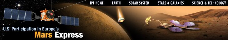 NASA's Mars Express  →  Mission to search for subsurface water from orbit.