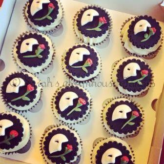 Phantom of the Opera cupcakes by www.sarahsfarmhousefancies.co.uk