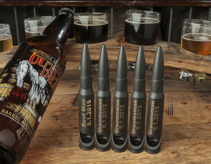 The BEST Groomsmen Gift idea!  Bullet Bottle Openers (powder coated), with custom engraving available.  Get a gift box!
