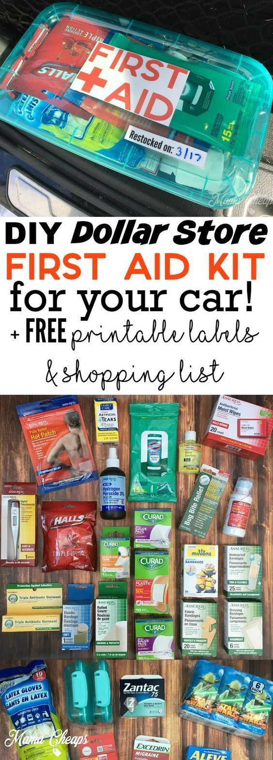 DIY Dollar Store First Aid Kit for Your Car + FREE Printable Labels and Shopping List #carcampingorganizationdollarstores