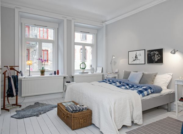 Inviting bright bedroom with vintage accents and soft lighting