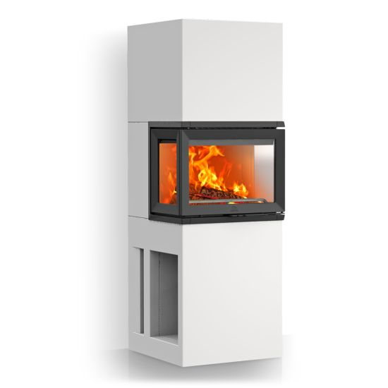 Jøtul FS 74: Here you have the opportunity to achieve the same exclusive expression one gets with a bricked fireplace, in a fraction of the time. Jøtul has a number of element fireplaces all of which can be built in a day. They require normally no reinforcement of the floors. Jøtul FS 74 is one of several available models.  Jøtul FS 74 is adapted the insert Jøtul i 520 and have access to fire from three sides. They have a convenient storage at the base.