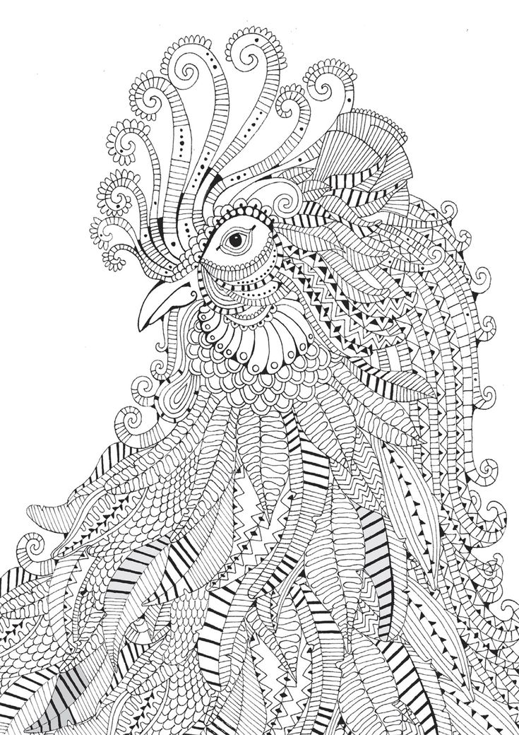 zentangle rooster coloring page - Difficult Coloring Pages