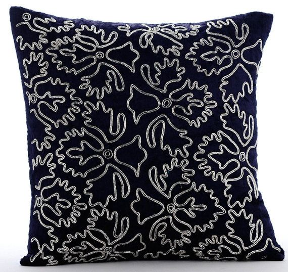 Silver Periwinkle - 16 x 16 Navy Velvet Embroidered Pillow.
