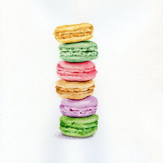 Laduree macarons - originale dipinto (illustrazione Desset, natura morta, acquerello Food Wall Art)