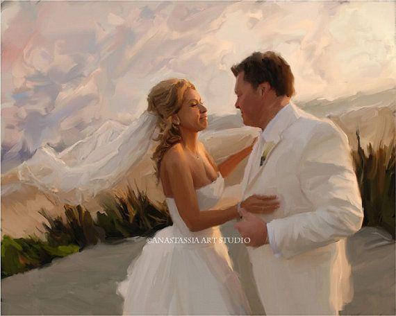 Wedding Gift - Custom Portrait Painting on Canvas Hand Painted Fine Art