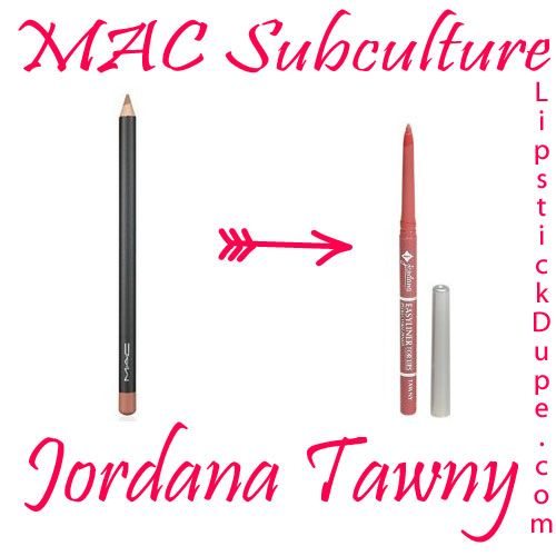 MAC Subculture Dupe Jordana Tawny @lipstickdupe from lipstickdupe.com