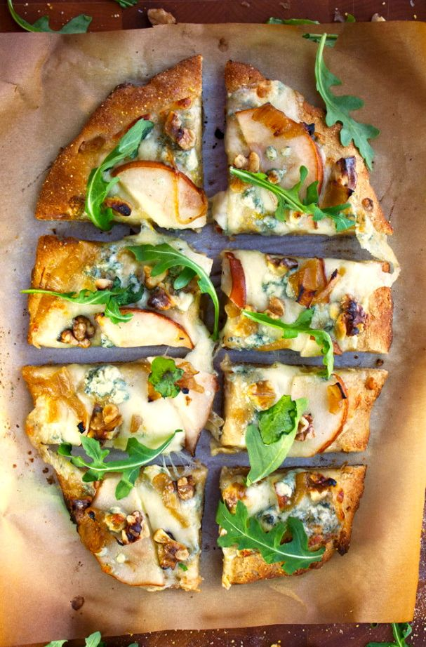 Pear, Walnut, & Blue Cheese Artisan Pizza (use Bob's Red Mill #glutenfree pizza dough mix)