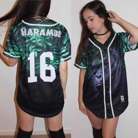 "Order your limited edition ""Harambe"" Jersey before we run out! Remember the gorilla Harambe with these limited edition jersey. Show your support with this custom made baseball jersey. Rest in Peace to"