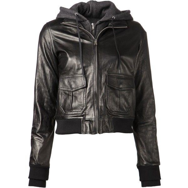 R13 Hooded Leather Flight Jacket ($1,395) ❤ liked on Polyvore featuring outerwear, jackets, first fall, kirna zabete, hooded jacket, black flight jacket, cropped jacket, flight jacket and leather bomber jacket