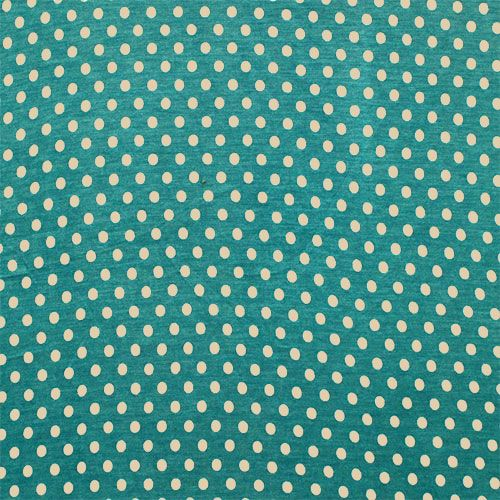 """Slightly Flawed Taupe Dots on Teal Green Cotton Jersey Blend Knit Fabric - Taupe polka dot repeating design on a pretty teal green color jersey rayon blend knit.  Fabric is light to mid weight with a nice stretch and drape.  Dots measures 1/4"""".  ::  $3.00"""