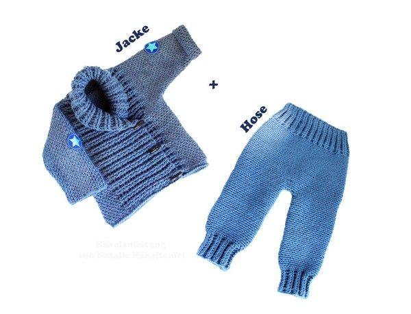 Mit diesem Spar-Set sparst Du ca. 20 %! Zwei PDF-Häkelanleitungen bestehen aus bebilderter Anleitung zum Häkeln von Baby- oder Kinderhose für Gr. 50-116 (Neugeboren bis 5-jähriges Kind) und Baby- und Kinderjacke in einem Denimlook. Jacke: Material, B