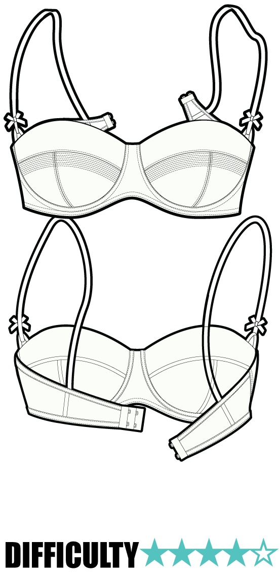 A simple, but perfect, bra pattern with a static material front and cup and an elasticated Powermesh back strap.The bra also features a foam layer and supportive under-wire, to create a full and smooth shape to the bust.  £3.65