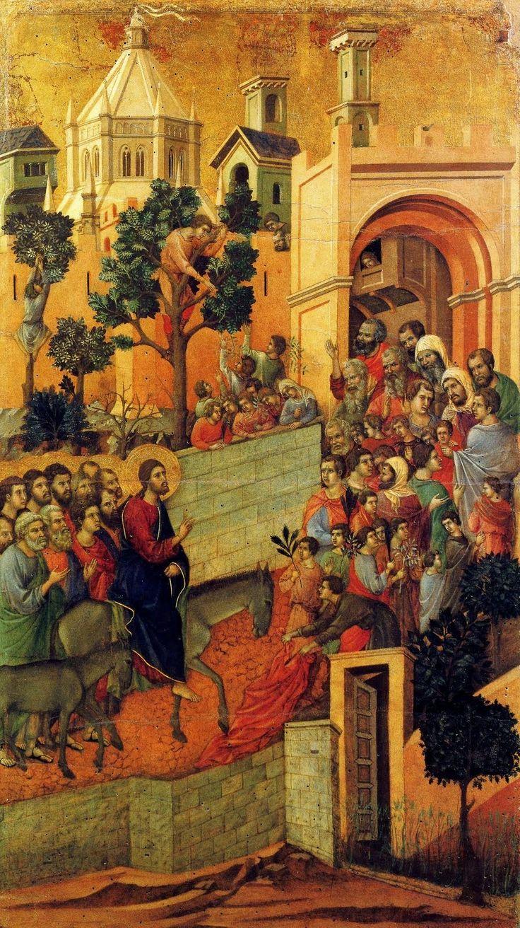 Entrada de Jesús en Jerusalén. 1310. Duccio di Buoninsegna Temple y oro sobre tabla. Medidas: 100cm x 57cm. Museo del Duomo. Si...