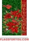 Welcome Poinsettias Garden Flag