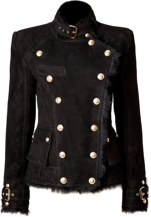 Balmain Shearling Double-Breasted Jacket in Black on shopstyle.com