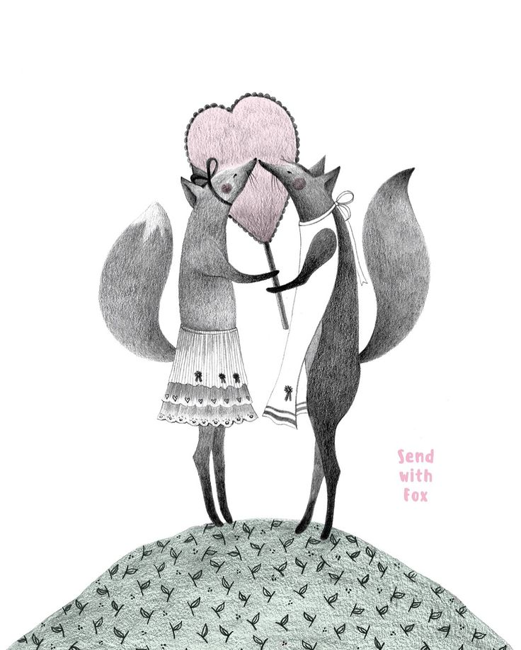 Hand-drawn postcard collection about Foxes and Love. 2016