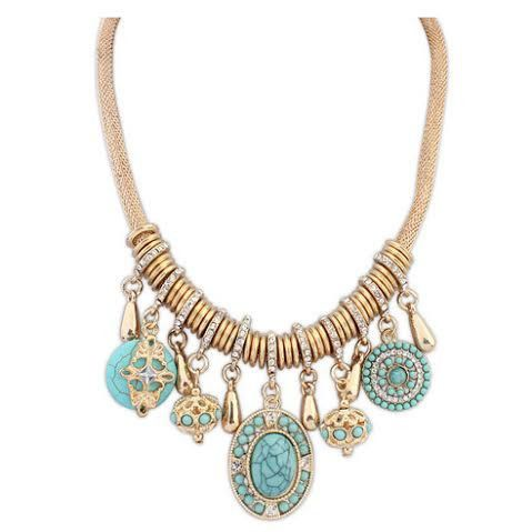 Necklace - Antique Blue Stone  with Gold Tone