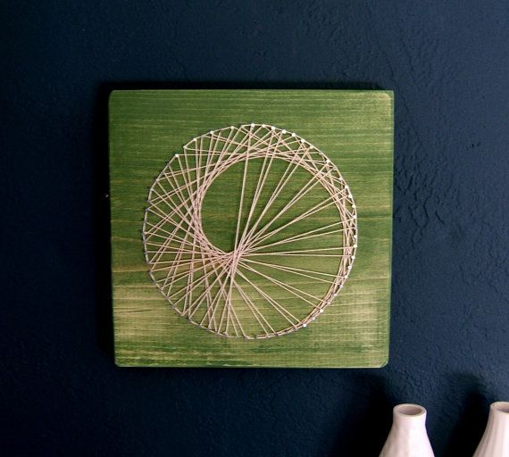 Modern String Art Wooden Tablet Sea Snail on Green Tea by NineRed