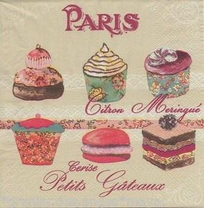 2 SERVIETTES EN PAPIER GÂTEAU PARIS CUPCAKES CUP CAKES MACARON