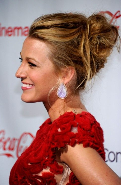 Blake Lively Messy Updo for Wedding | Hairstyles Weekly