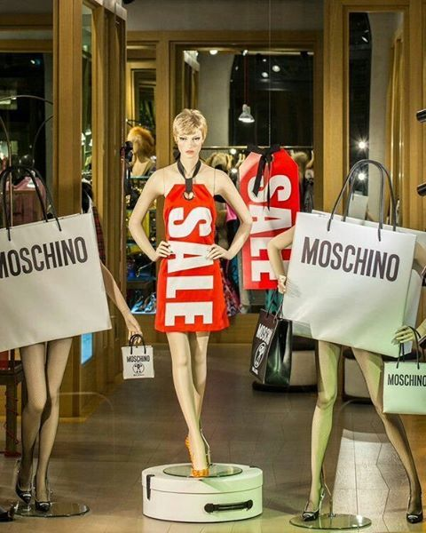 """MOSCHINO, Milan, Italy, """"THAT'S ON SALE"""", (Every women's three favorite words), photo by ONE Creative Studio, pinned by Ton van der Veer"""
