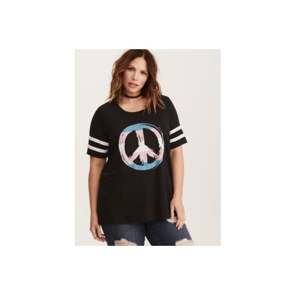 Torrid Peace Sign Football Tee ($37) ❤ liked on Polyvore featuring tops, t-shirts, black, graphic tees, plus size, plus size graphic t shirts, women's plus t shirts, peace t shirt and plus size graphic tees