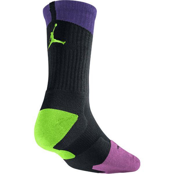 NIKE Air Jordan Dri-FIT Crew Basketball Sock (1 Pair) ($16) ❤ liked on Polyvore featuring intimates, hosiery, socks, patterned hosiery, crew socks, nike, moisture wicking socks and dri fit socks