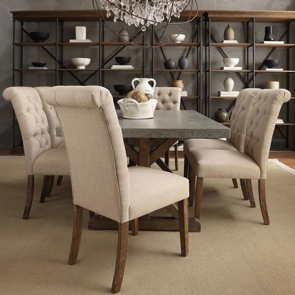 TRIBECCA HOME Benchwright Button Tufts Upholstered Rolled Back Parsons  Chairs (Set Of 2 $227). Tufted Dining ChairsDining Room ...
