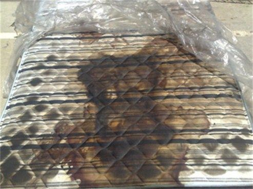 This is a human decomposition stain left on a mattress. You can vaguely make out the shape of the head and upper body. ∞