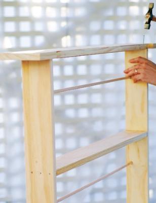 One step in the DIY plate rack tutorial.
