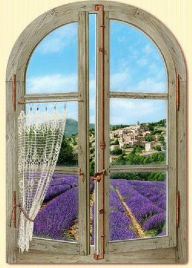 Arched window onto lavender fields