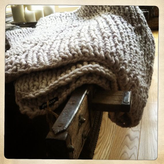 Finger Knitting Blanket : Hand knit super chunky blanket throw by overboard on