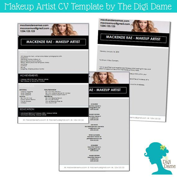 Makeup Artist Cv Template Package By The Digi Dame On Etsy $10.00