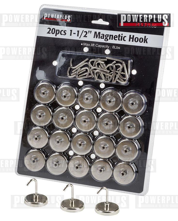 Magnethaken set 20 Stk. Magnetische Haken Satz, Länge: 40 mm Durchmesser des Fußes: 35 mm Die Magnethaken können auf jeder Stahl / Eisen-Oberfläche sowie auf einem Werkzeugwagen oder einer Werkzeuglochwand angebracht werden. Gewicht : 864 g Garantie : 2 Jahre Werksgarantie Anzahl der Teile : 20 Antrieb: Magnetisch, Preis: € 19,95 zzgl. Versand https://www.powerplustools.de/lochwande/magnethaken-set-20-stk-magnetische-haken-satz.html