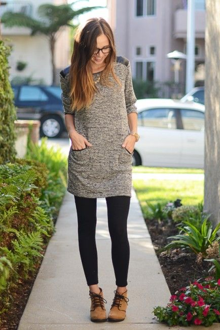 My Top 5 Go-To Outfits for Fall. Tunics and Leggings  Tunics and leggings are one of the comfiest things to wear. A super soft gray one with leather detailing is so appropriate for fall, and when paired with lace-up booties, it's totally my style and on-trend.:
